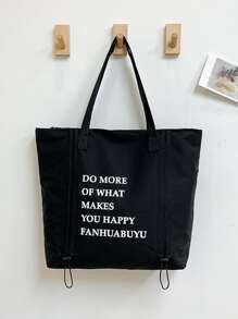 Letter Print Tote Bag