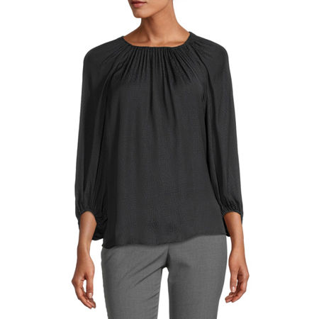 Worthington Womens Round Neck 3/4 Sleeve Blouse, Petite Small , Black