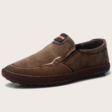 Men Letter Patch Slip On Loafers