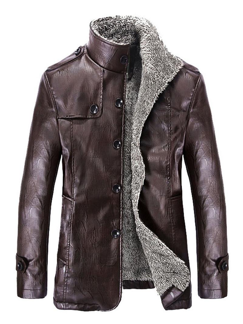 Ericdress Plain Thicken Flocking Warm Men's PU Coat