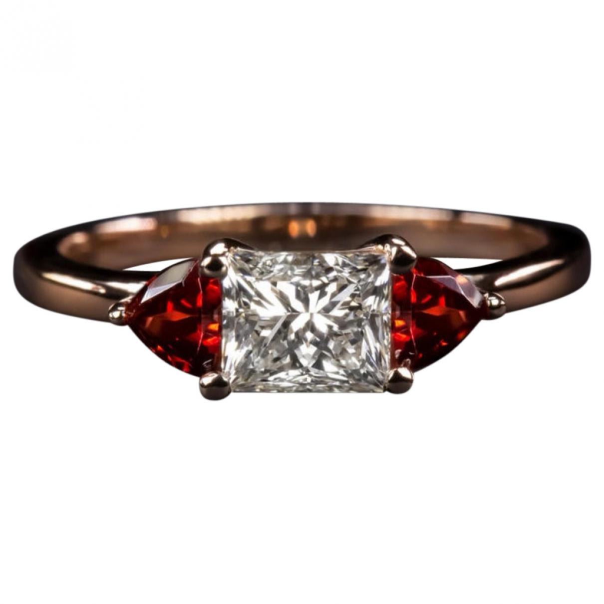 - Bague Rubis pour femme en or rose - rouge