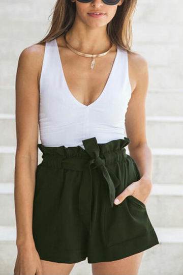 Yoins Army Green Pleated Waist Shorts with Waist Tie