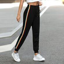Jogginghose mit Regenbogen Streifen und Band vorn