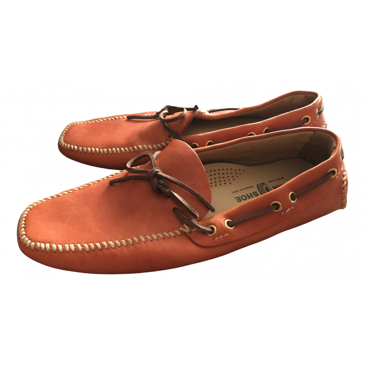 Carshoe \N Orange Leather Flats for Men 41 EU