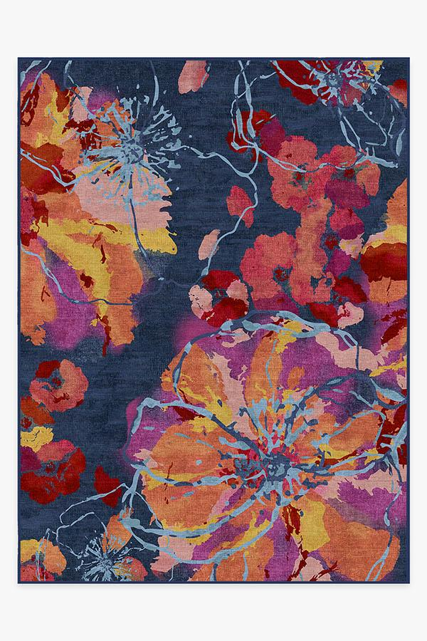 Washable Rug Cover | Watercolor Floral Navy Rug | Stain-Resistant | Ruggable | 9'x12'