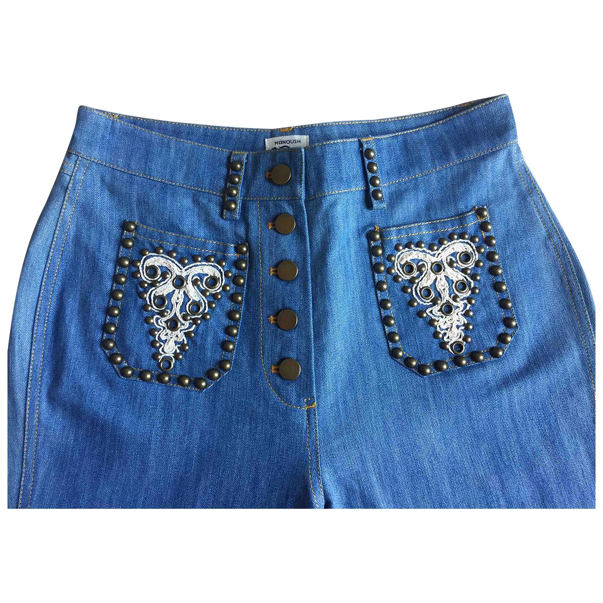 Manoush N Blue Cotton Jeans for Women 36 FR