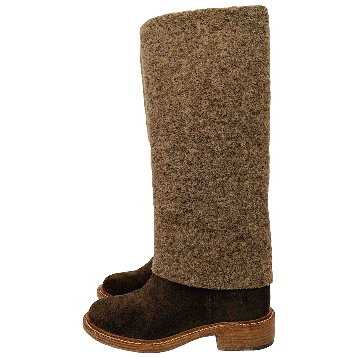 Chanel \N Brown Suede Boots for Women 38 EU