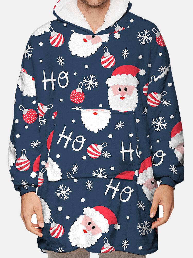 Mens Santa Onesie Christmas Print Blanket Hoodies Thicken Oversized Loungewear Men