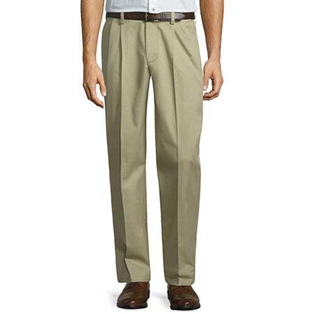 St. John's Bay Stretch Iron Free Expandable Waist Pleat Pant, 30 30, Brown