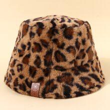 Sombrero cubo mullido con patron de leopardo