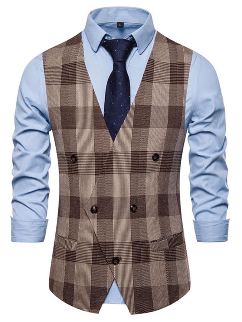 Ericdress V-Neck Color Block Pocket Men's Fashion Waistcoat