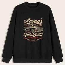Guys Car & Letter Graphic Sweatshirt