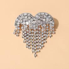 Rhinestone Decor Heart Design Brooch
