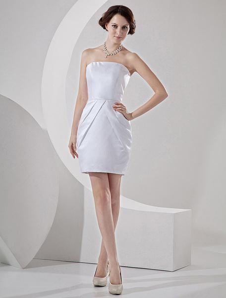 Milanoo Vestido de boda blanco de saten ajustado sin tirantes mini