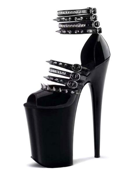 Milanoo High Heel Sexy Sandals Black PU Leather Peep Toe Rivets 9.1\'\' Sexy Shoes