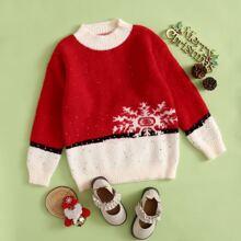 Girls Spliced Snowflake Pattern Fluffy Knit Sweater