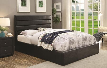 Riverbend Collection 300469KE Eastern King Platform Bed with Lift Top Storage  Euro Slat Kit and Leatherette Upholstery in Black