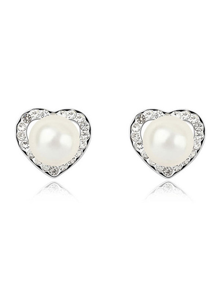 Milanoo White Stud Earrings Vintage Pearls Rhinestones Pierced Wedding Earrings