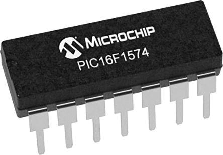 Microchip PIC16F1574-I/P, 8bit 8 bit CPU Microcontroller, PIC16F, 32MHz, 7 kB Flash, 14-Pin PDIP (30)