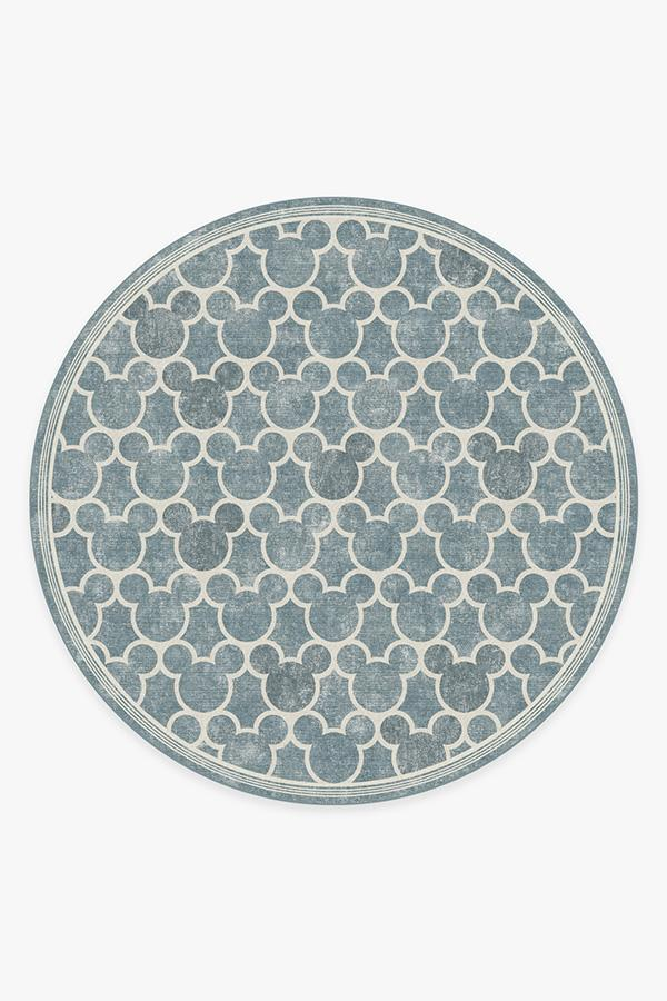Washable Rug Cover & Pad | Mickey Trellis Slate Rug | Stain-Resistant | Ruggable | 8' Round