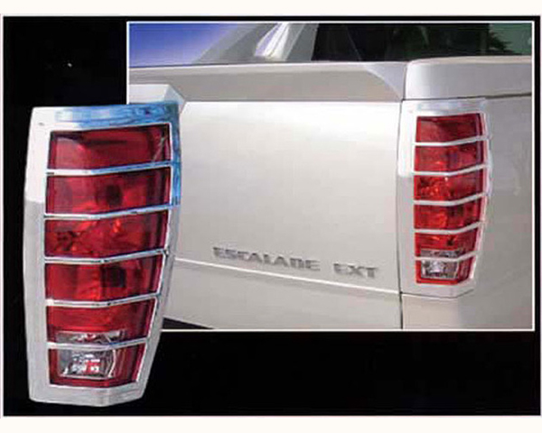 Quality Automotive Accessories 2-Piece ABS Plastic with Chrome Overlay Tail Light Bezel Cadillac Escalade 2004