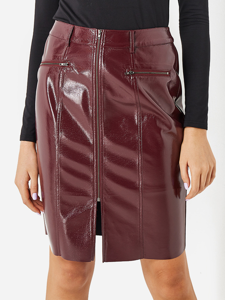Yoins Burgundy Zip Design PU Skirt