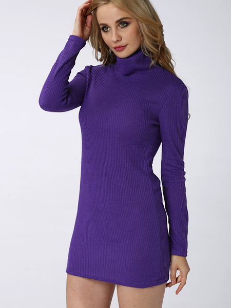 Yoins Purple Sexy Bodycon Rollneck Long Sleeves Mini Dress