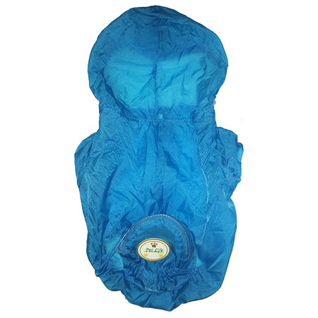 The Pet Life The Ultimate Waterproof Thunder-Paw Adjustable Zippered Folding Travel Dog Raincoat, One Size , Blue