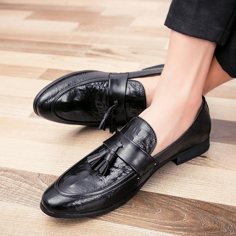 Ericdress PU Alligator Pattern Fringe Slip-On Men's Loafers