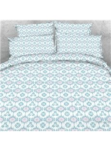 Designer Shallow Window Flowers Embellished Printed Polyester 4-Piece Bedding Sets/Duvet Cover