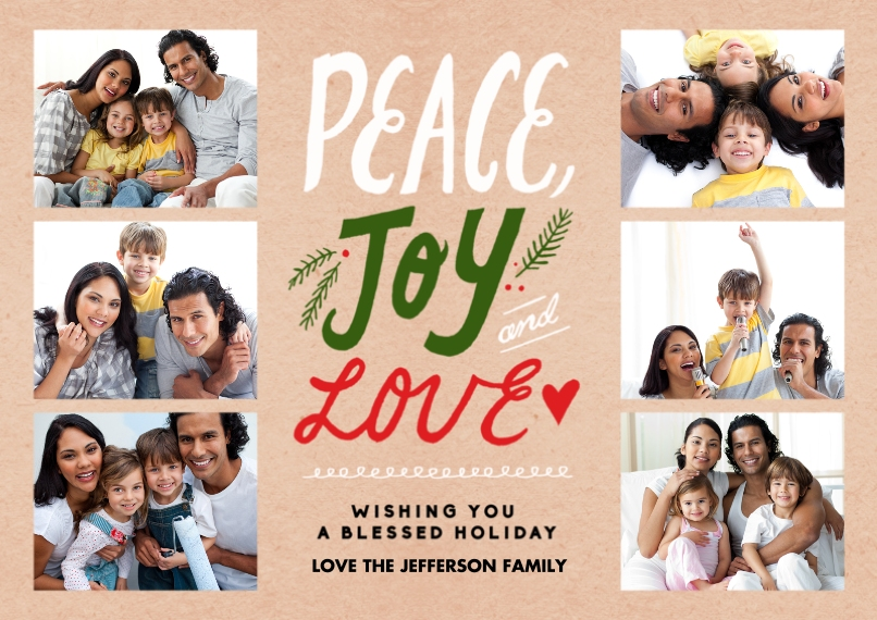 Holiday Photo Cards 5x7 Cards, Premium Cardstock 120lb with Elegant Corners, Card & Stationery -Peace Joy Love
