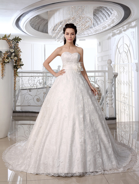 Milanoo Lace Wedding Dresses Strapless Ivory Ball Gown Bridal Dress Sweetheart Neck Beading Flower Sash Court Train Wedding Gown