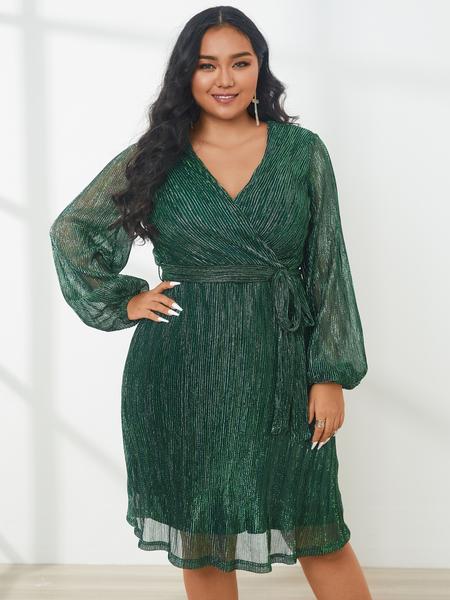 YOINS Plus Size V-neck Glitter Long Sleeves Midi Dress
