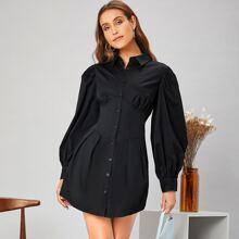 Lantern Sleeve Solid Shirt Dress