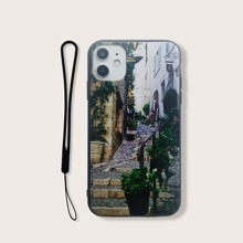 Street Scenery iPhone Case With Lanyard