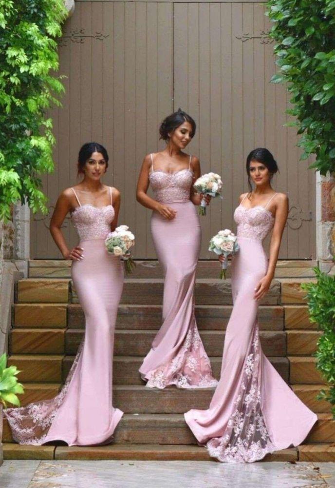 Spaghhetis-Straps Pink Mermaid Lace Vestidos de baile elegantes