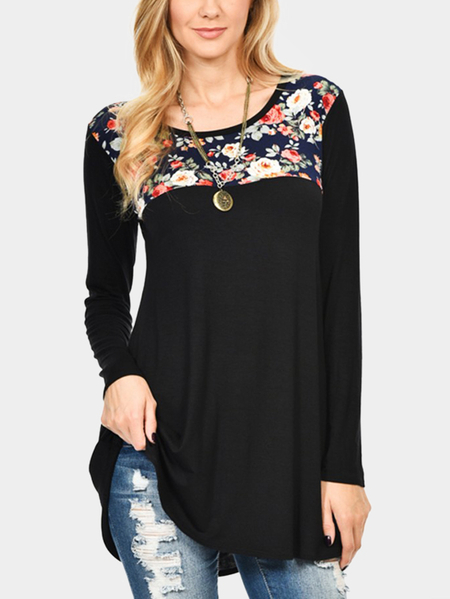 Yoins Black Floral Print Round Neck Long Sleeves Blouses