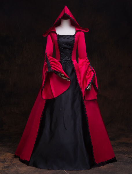Milanoo Victorian Dress Costume Women's Red Hooded Masquerade Ball Gowns Royal Long Trumpet sleeves Victoria Era Clothing retro Costume Halloween
