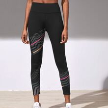Striped Panel Cropped Sports Leggings