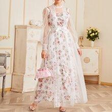 Eyelash Lace Trim Ribbon Bow Detail Shirred Cuff Mesh Overlay Floral Dress