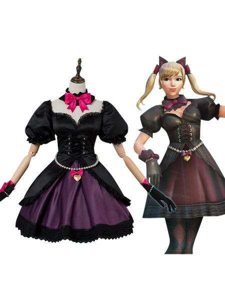 Milanoo Overwatch OW D.va Hana Song Black Cat Cosplay Costume