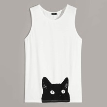 Guys Cat Print Tank Top
