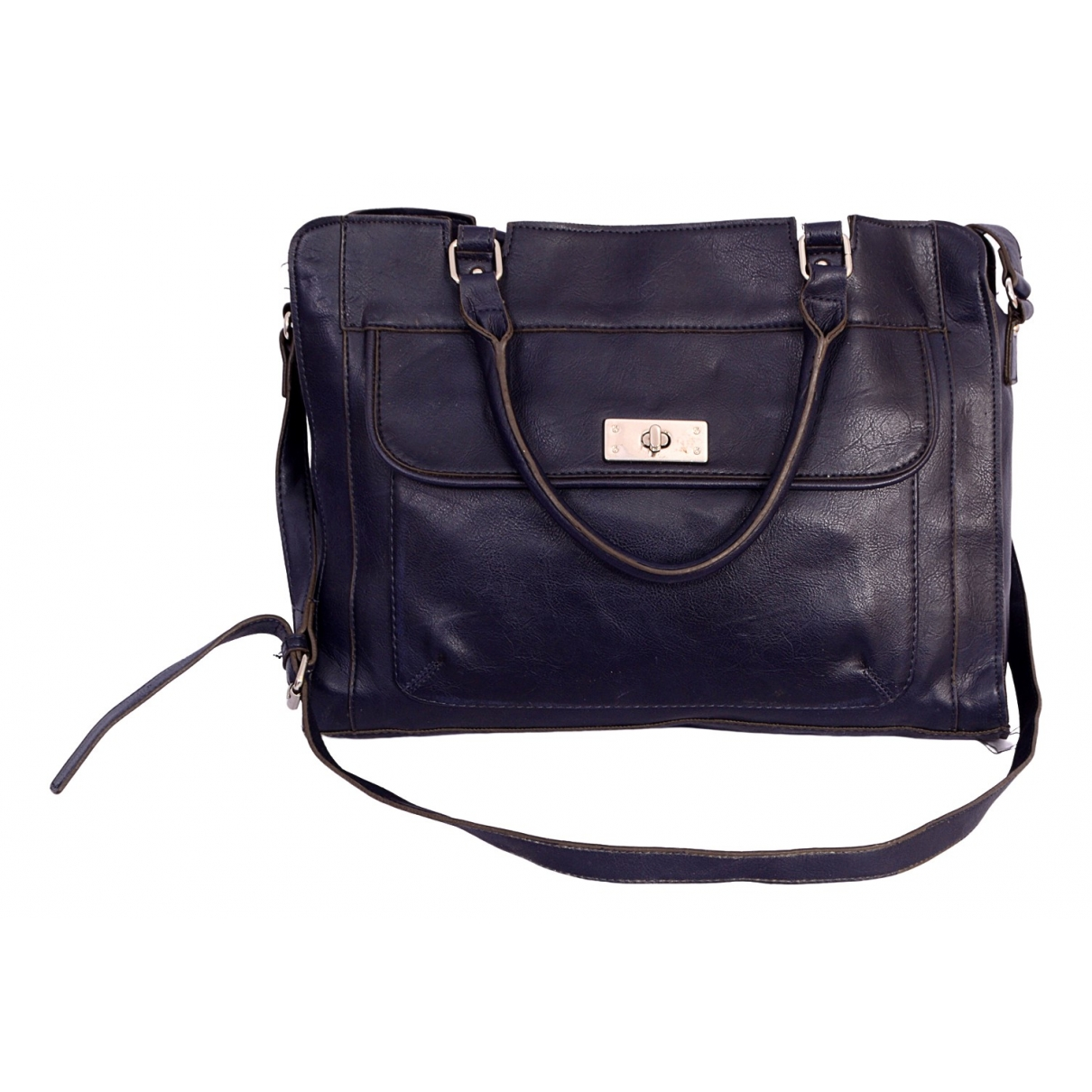 Non Signé / Unsigned \N Navy Leather handbag for Women \N