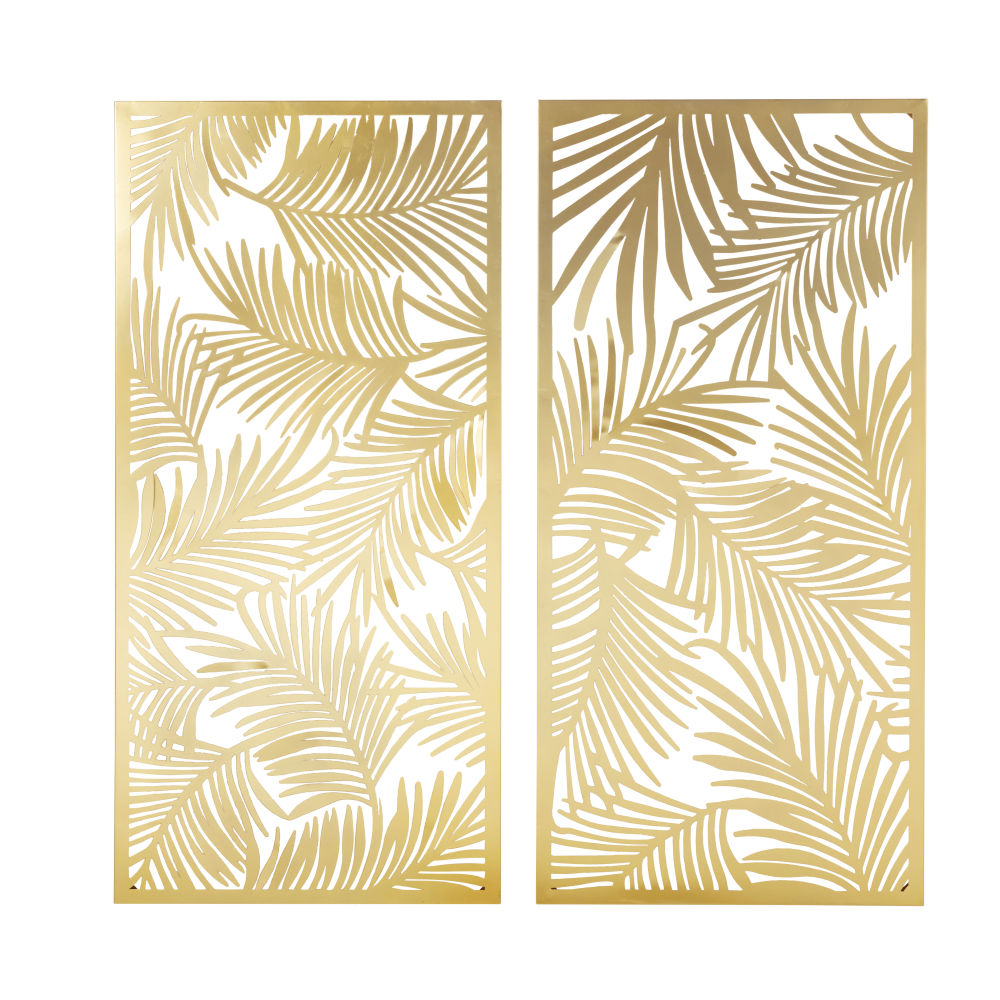 2 Wanddekos aus zugeschnittenem Metall, goldfarben 130x62