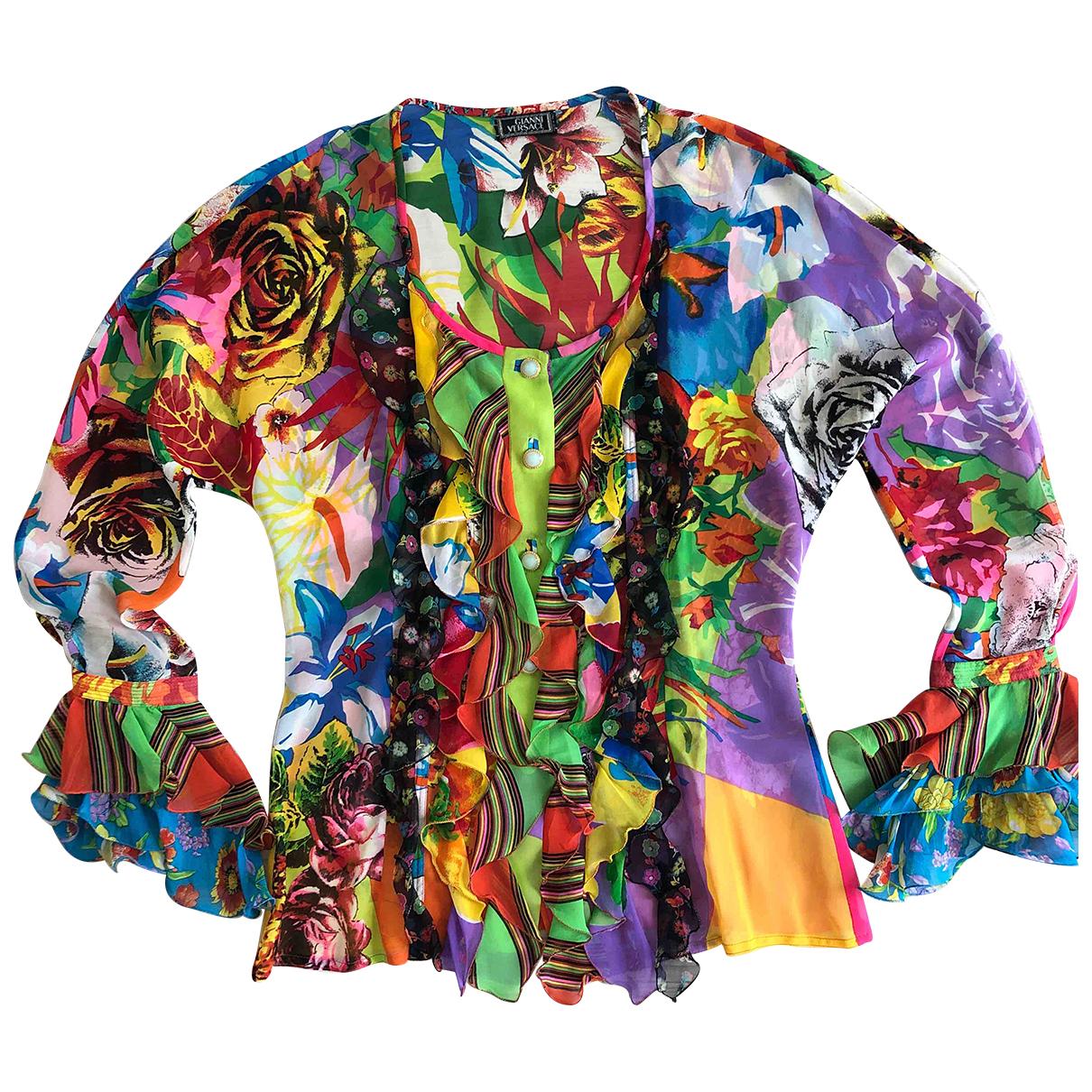 Gianni Versace - Top   pour femme en soie - multicolore