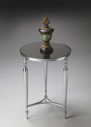Ciara Collection 2881220 End Table with Transitional Style  Round Shape and Aluminum Material in Nickel