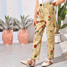 Pantalones floral con bolsillo con solapa