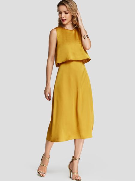 Yoins Yellow Plain Crew Neck Sleeveless Slit Design Midi Dress