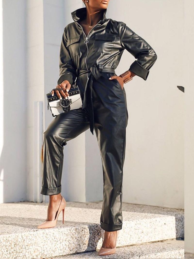 Ericdress Plain Full Length Zipper Loose Straight Women's Jumpsuit