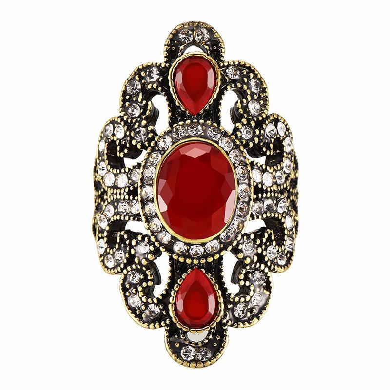 Vintage Finger Rings Gemstone Rhinestone Hollow Oval Geometric Rings Ethnic Jewelry for Women